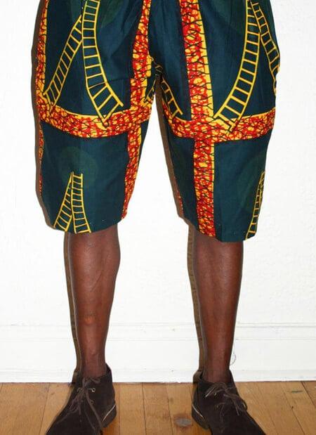 Shorts de capulana para homens - Verde e fogo