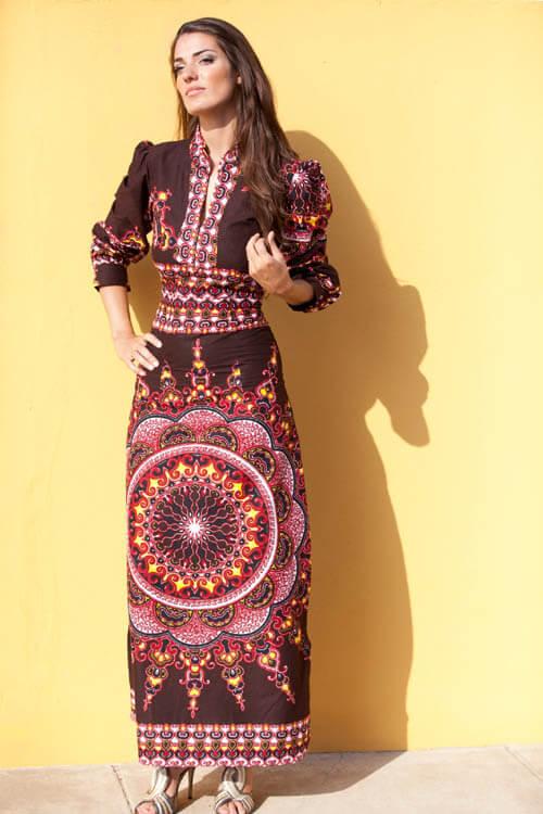 Vestido de capulana Castanho perfeita para uma celebração