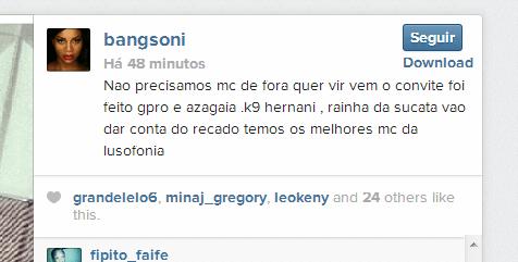 Publicação de Bang no Instagram