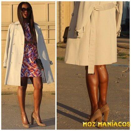 Vestido colorido e casaco creme
