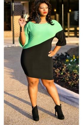 Vestido verde e preto
