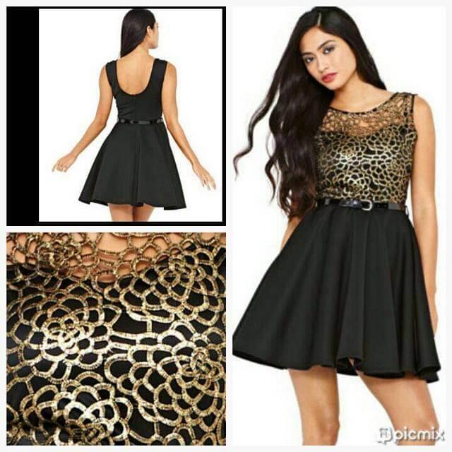 comprar Vestido curto preto e doirado sem manga 2150 M